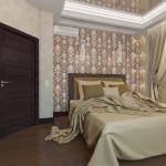 Дизайн уютной спальной комнаты в тёплых тонах