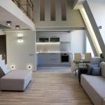 Дизайн гостиной в двухэтажной квартире в стиле лофт