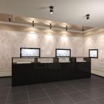 Макет дизайна интерьера ювелирного магазина в 3д