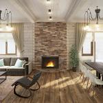 Дизайн камина в деревянном доме