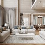 Дом из бруса пастельные тона дизайн