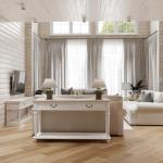 светлая гостиная в деревянном доме